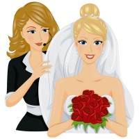 a wedding coordinator with bride